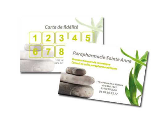 Réalisation carte de fidélité Parapharmacie Sainte-Anne à Toulon