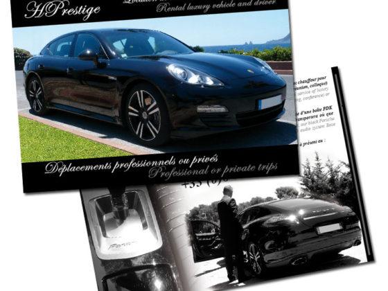 Réalisation Flyer pour HPrestige Location voiture de luxe Toulon Var