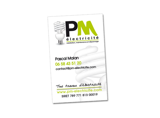 Carte de visite pour l'entreprise PM Electricité à Puget-Ville (83)