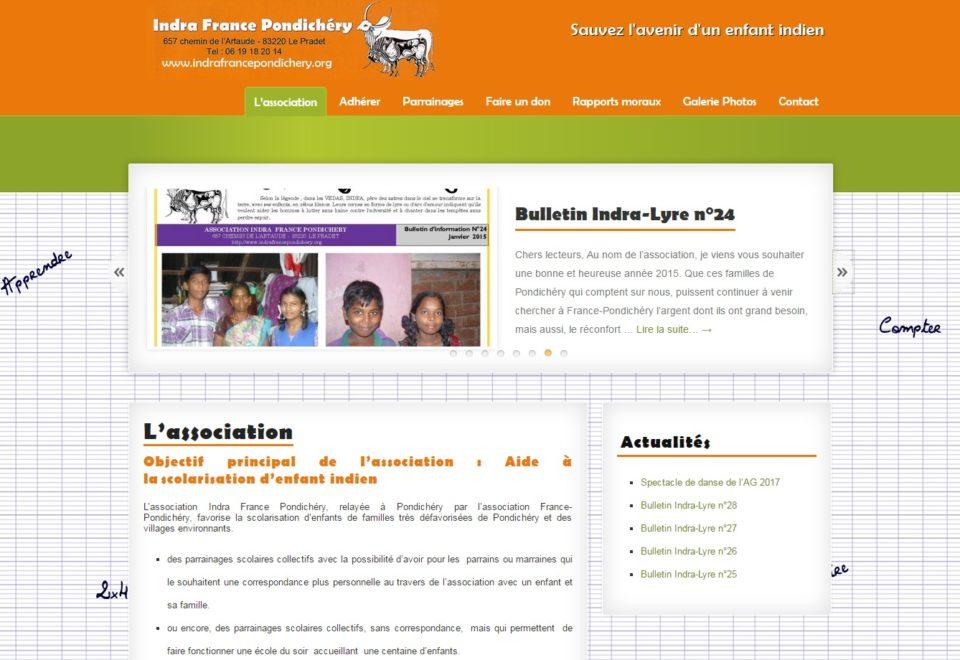 Création site internet pour l'association Indra France Pondichéry au Pradet (Var)