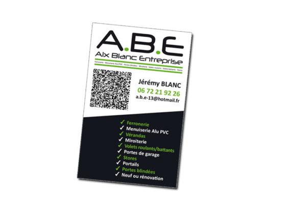 Carte de visite pour Aix Blanc Entreprise  Menuiserie PVC ALU à Bouc-Bel-Air (13)