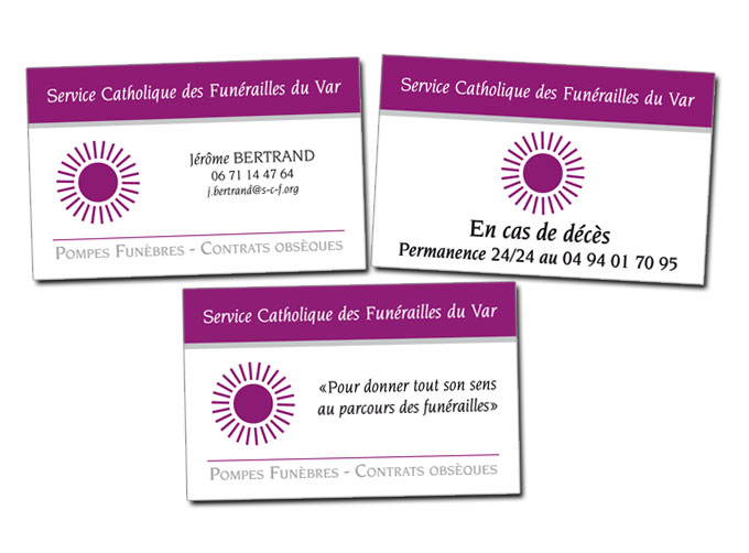Réalisation Cartes de visite Service Catholique des Funérailles à Toulon (Var)