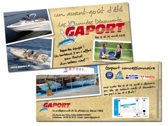 Réalisation Flyer Invitation pour la société Gaport à Hyères (Var)