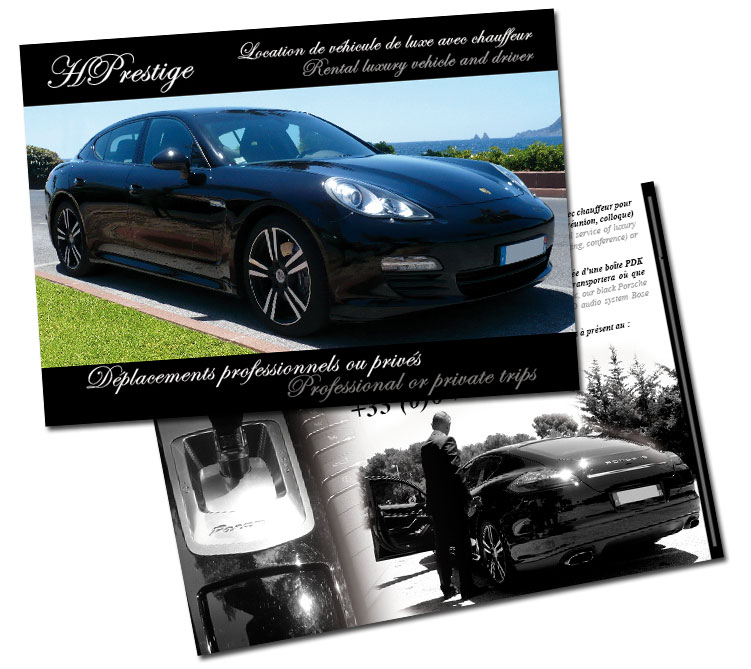 r alisation flyer pour hprestige location voiture de luxe toulon var dream media. Black Bedroom Furniture Sets. Home Design Ideas
