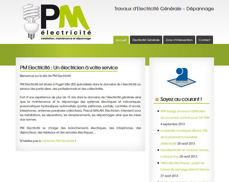 Création site internet pour l'entreprise PM Electricité à Puget-Ville (83)