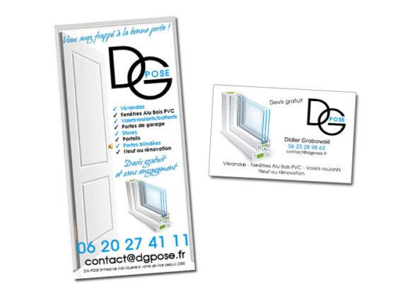 Réalisation carte de visite et flyer pour DG POSE entreprise Menuiserie PVC Alu