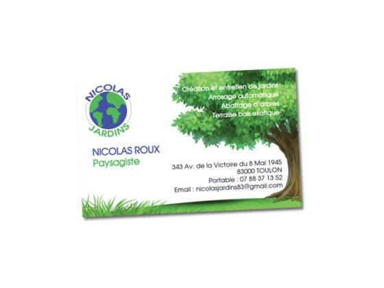 Carte de visite texturée bois pour Nicolas Jardins Paysagiste à Toulon (Var)