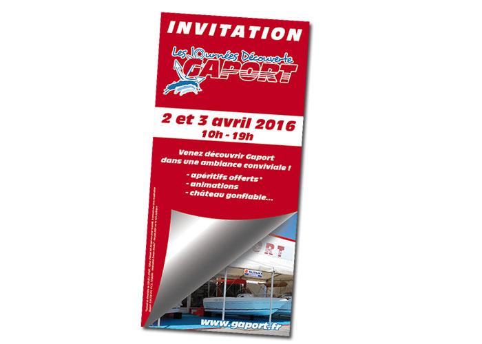 Réalisation flyer invitation pour la société Gaport à Hyères (83)
