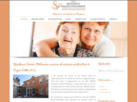 Refonte site internet Maison de retraite Sainte Philomène à Puget-Ville (83)